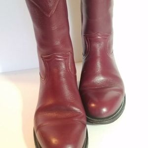 Pecos Bill Mid Calf Boots Sz 6 Women Leather Red